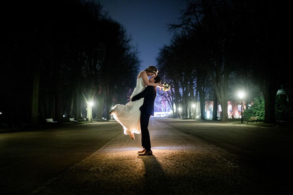 Hochzeitsfotografie nachts Bad Homburg Winterhochzeit