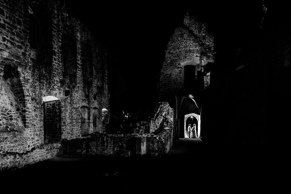 Hochzeitsfotos Burg Hain Dreieich nachts